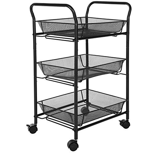 Songmics 3 Tier Rolling Storage Cart For Kitchen Pantry Bathroom Utility Cart With Removable